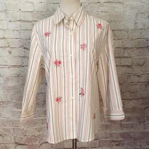 Alfred Dunner Button Up Top Blouse Striped Tan
